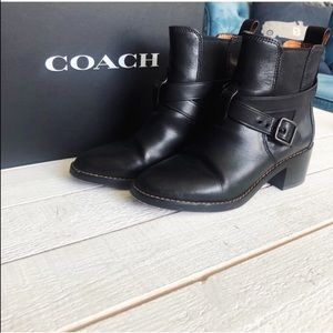 Coach Black Buckle Chelsea Ankle Boot with Box